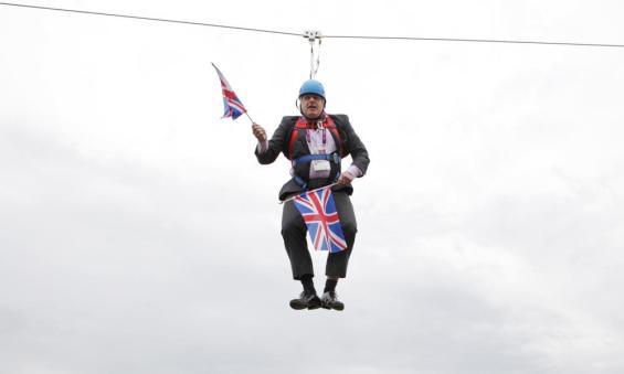 Boris Johnson on a zip-line