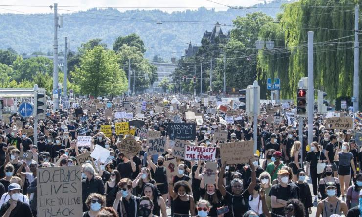 People demonstrate against racism in Zurich, Switzerland, on 13 June 2020. EPA/ENNIO LEANZA