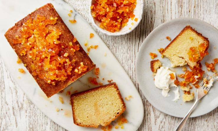 Lemon drizzle cake with candied citrus