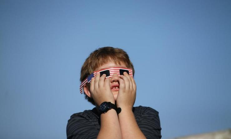 Eclipse glasses at the ready in Depoe Bay, Oregon.