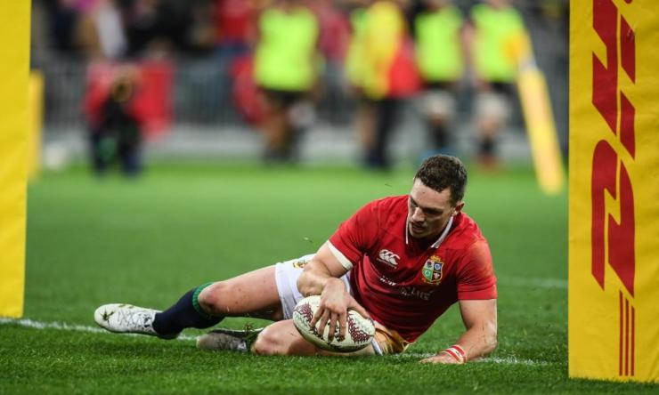 George North goes over to score the Lion's second try.