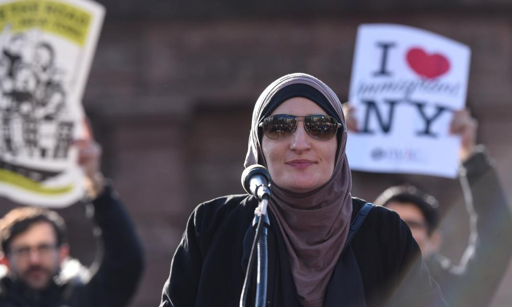Activist Linda Sarsour addresses the crowd during a protest against President Donald Trump's travel ban, in New York City on January 29, 2017.