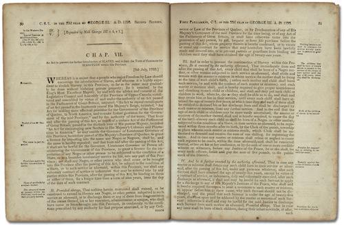 متن قانون مصوب ۱۷۹۳ علیه بردهداری در کانادای علیا