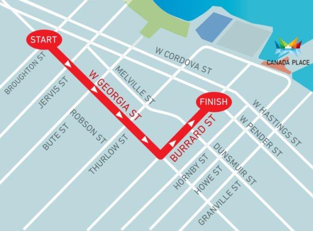 نقشهٔ رژهٔ ۱۵۰ سالگی کانادا در ونکوور