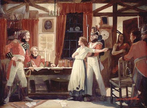 نقاشی لحظهای که لارا سکرد به جیمزفیتزگیبون دربارهٔ حملهٔ قریبالوقوع نیروهای آمریکایی اخطار میدهد