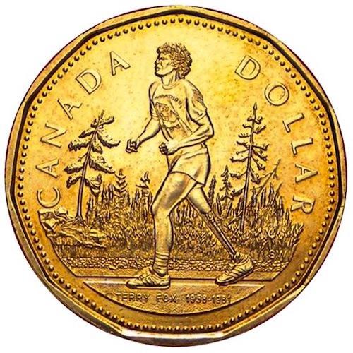 سکهٔ ۱ دلاری ضربشدهٔ یادبود تری فاکس و ماراتن امید