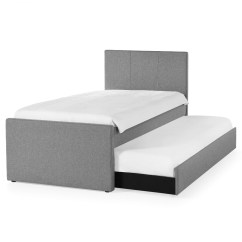 Rialto Fabric Futon Sofa Bed With Trundle Light Grey Guest