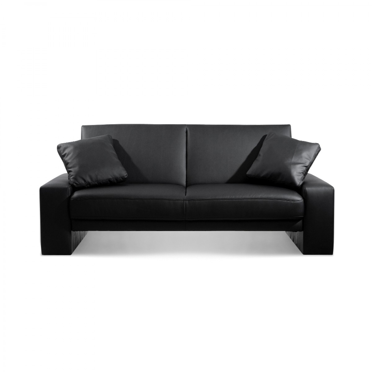 sofa bed black faux leather sectional miami supra