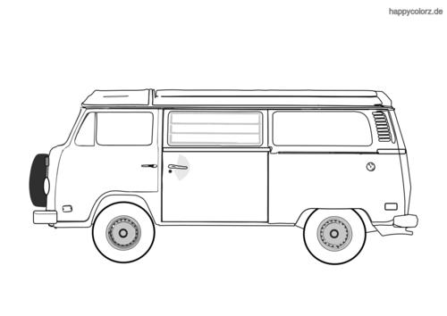 Bulli Bus Zum Ausmalen - Malvorlagen