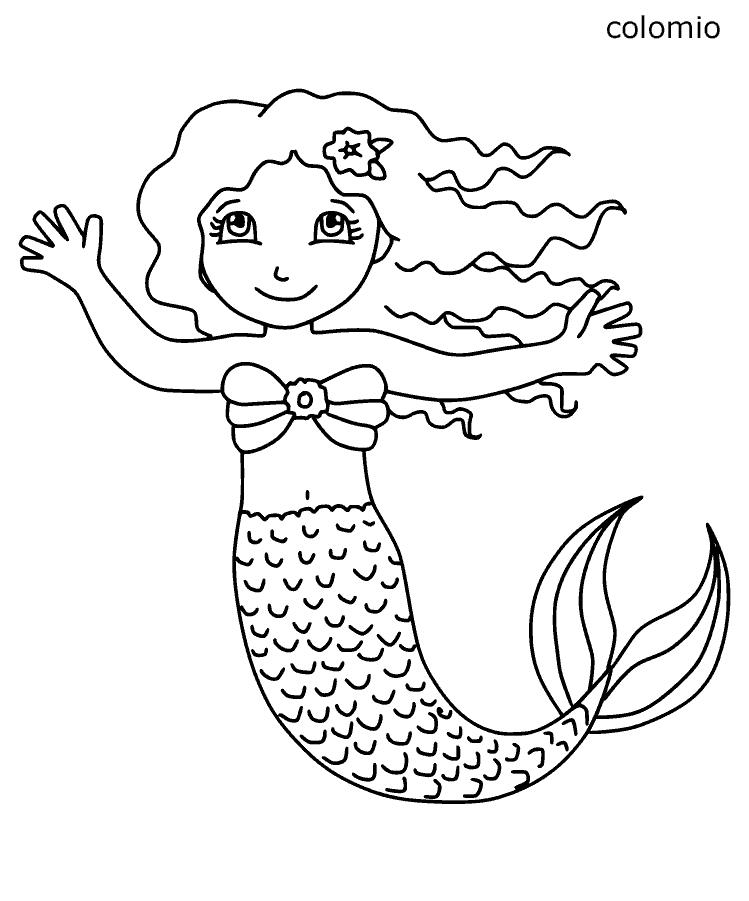 Ausmalbilder Meerjungfrau kostenlos » Malvorlage Meerjungfrau