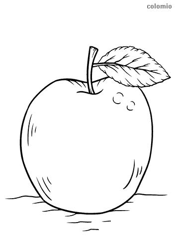 Apfel Malvorlage kostenlos » Äpfel Ausmalbilder