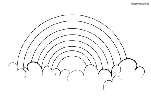 Ausmalbild Regenbogen Sonne - x13 ein Bild zeichnen