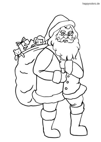 Ausmalbilder Weihnachtsmann Mit Sack