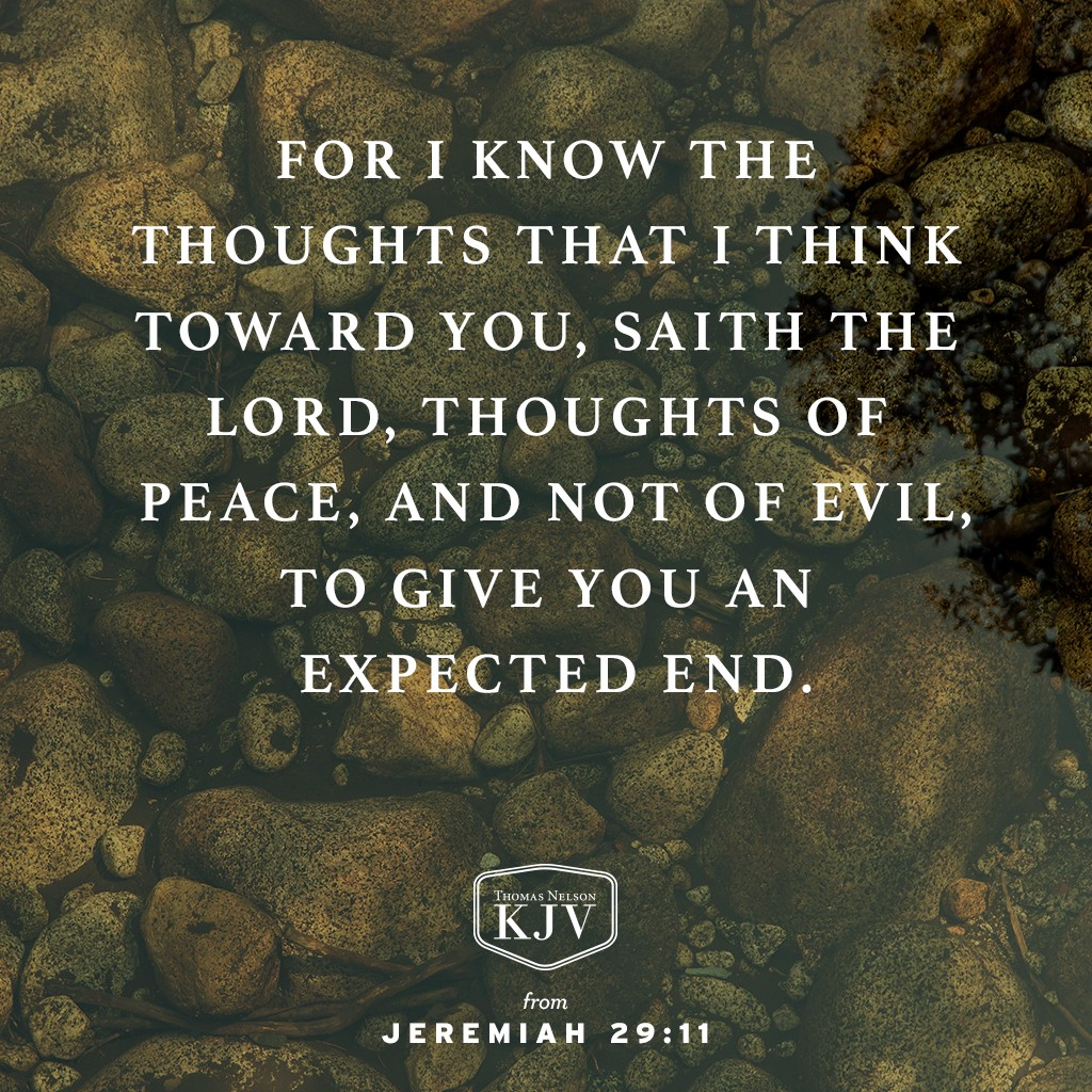 11 For I know the thoughts that I think toward you, saith the Lord, thoughts of peace, and not of evil, to give you an expected end. Jeremiah 29:11