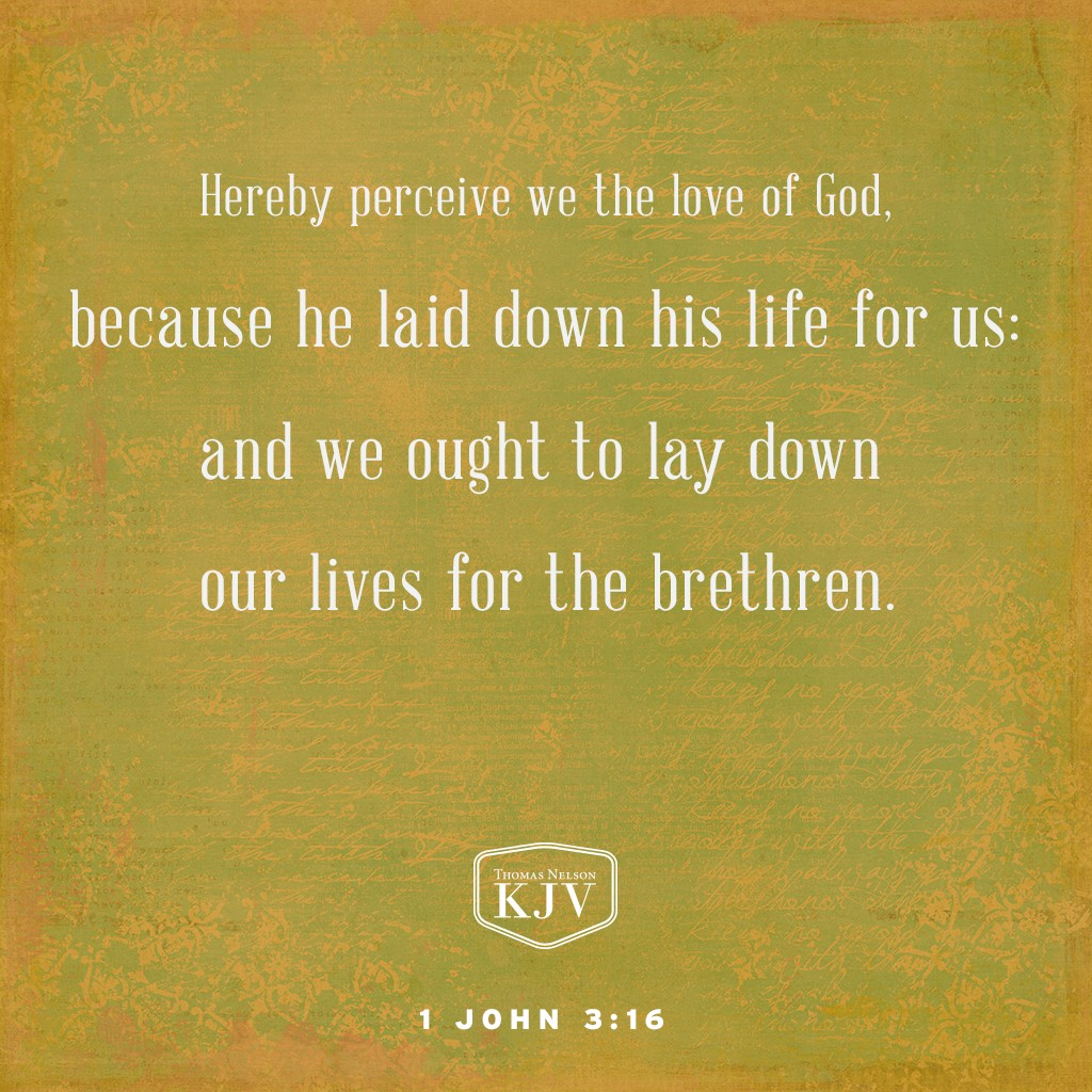 16 Hereby perceive we the love of God, because he laid down his life for us: and we ought to lay down our lives for the brethren. 1 John 3:16