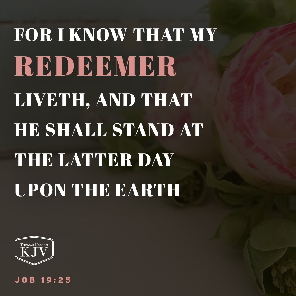 25 For I know that my redeemer liveth, and that he shall stand at the latter day upon the earth. Job 19:25