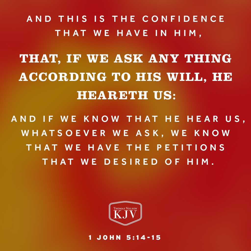 And this is the confidence that we have in him, that, if we ask any thing according to his will, he heareth us:  And if we know that he hear us, whatsoever we ask, we know that we have the petitions that we desired of him. 1 John 5:14-15