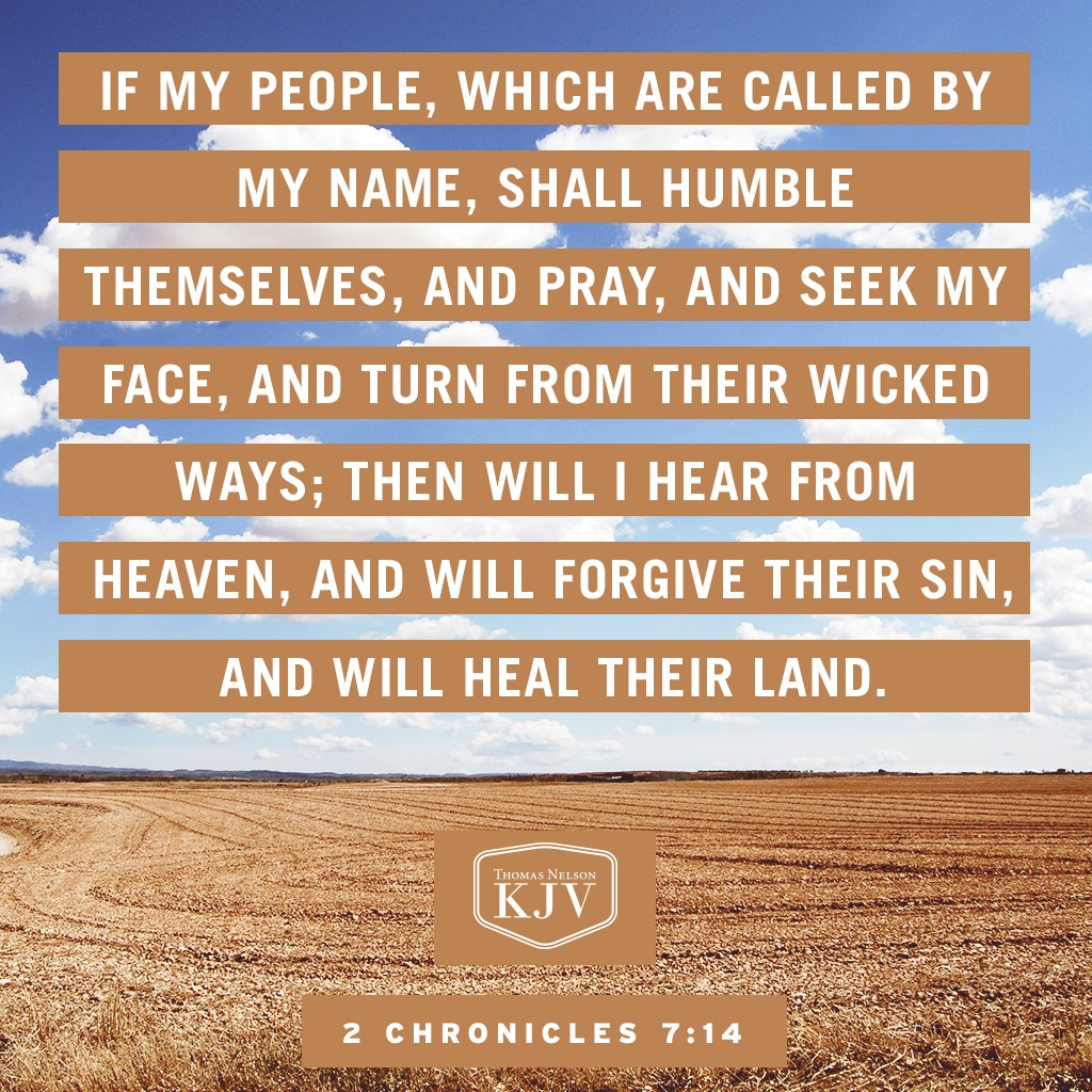 14 If my people, which are called by my name, shall humble themselves, and pray, and seek my face, and turn from their wicked ways; then will I hear from heaven, and will forgive their sin, and will heal their land. 2 Chronicles 7:14