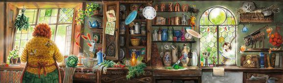 Kresba od Jima Kaye, Molly Weasleyová vaří ve své kuchyni.