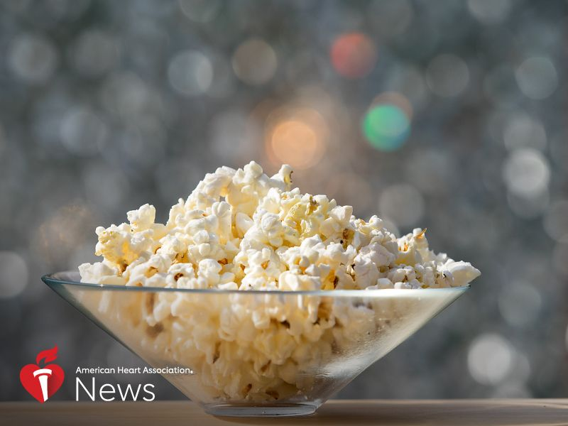 News Picture: AHA News: Popcorn as a Snack  Healthy Hit or Dietary Horror Show?