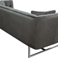 Velvet Grey Tufted Sofa T Covers Hollywood In Dusk With Metal Leg