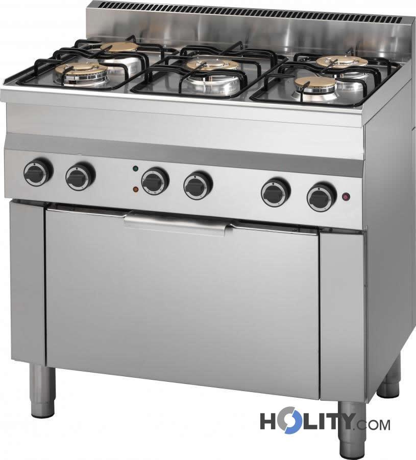 Cerchi Cucina professionale 5 fuochi con forno elettrico