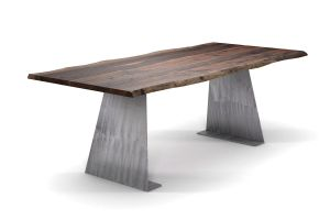 Amerikanischer Nussbaum Esstisch mit Baumkante [HOLZPILOTEN]