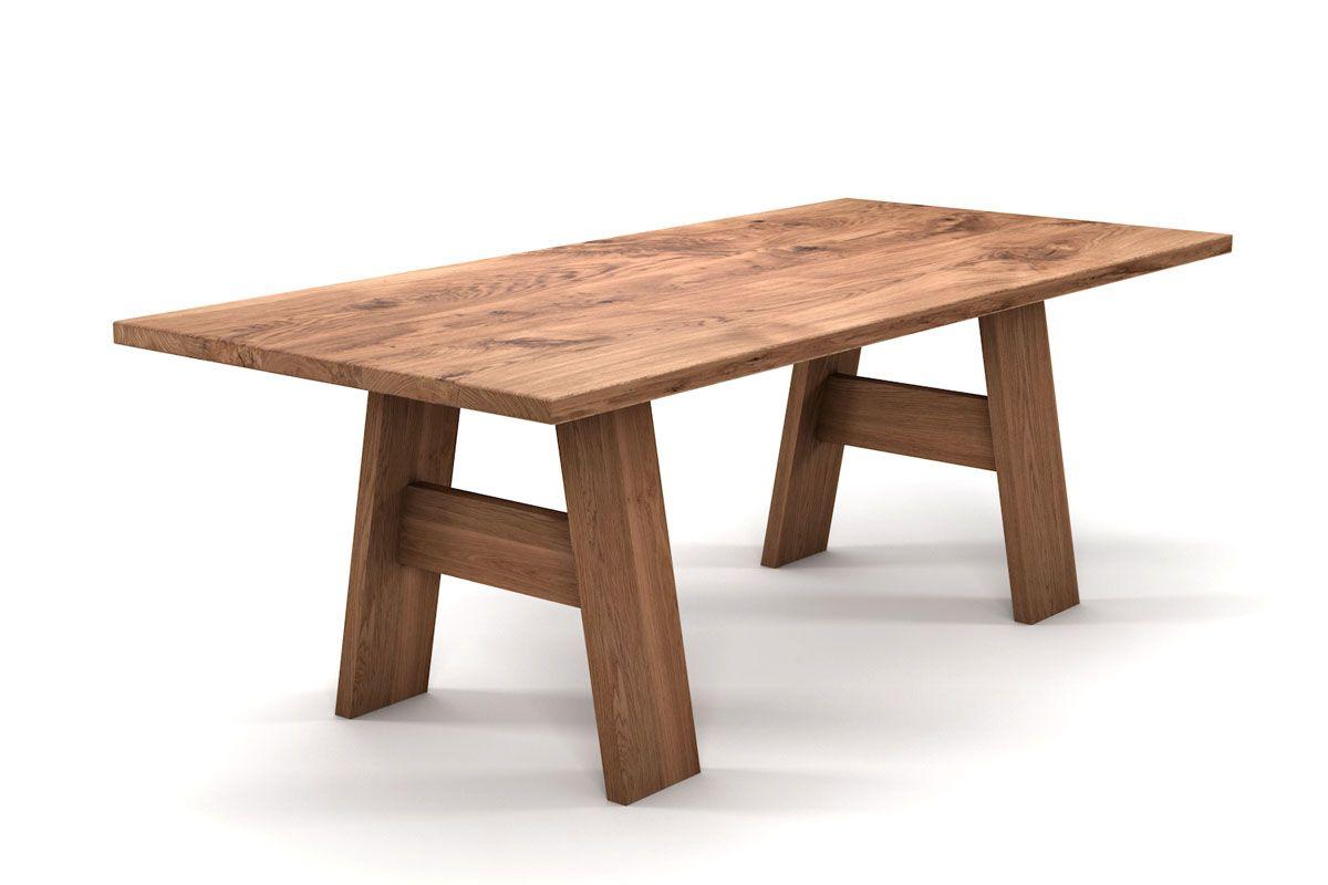 Vollholz Esstisch aus Eiche mit Tischgestell aus Holz