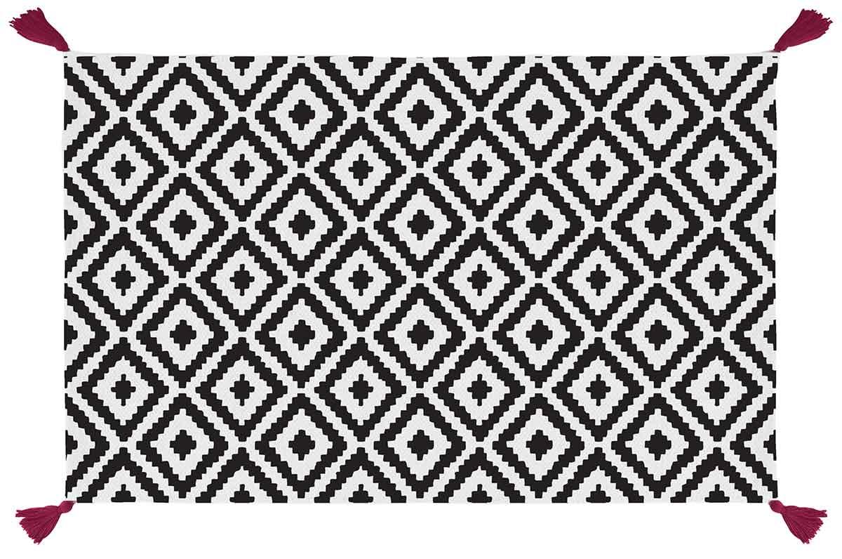 tapis de bain graphisme et pompons noir blanc