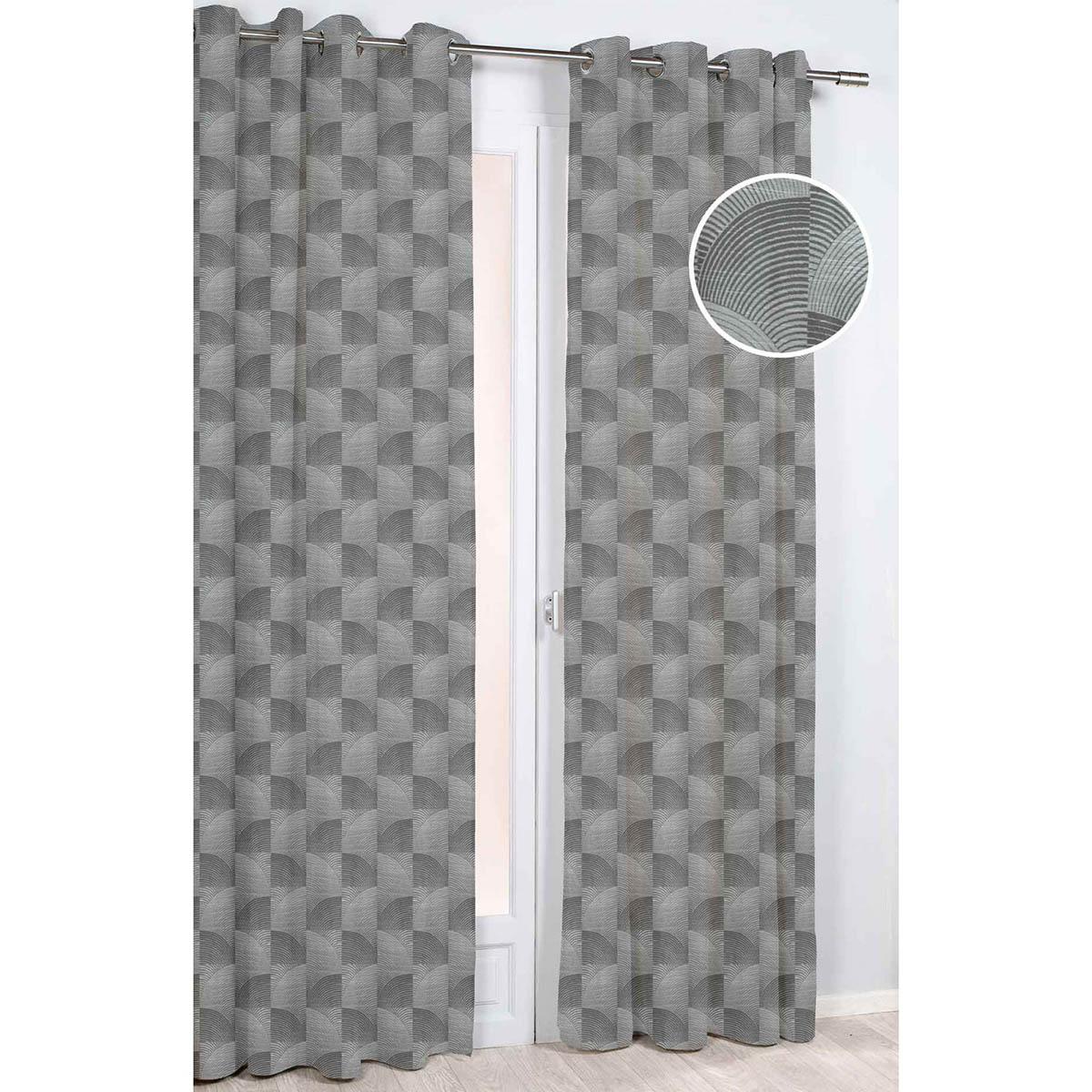 rideau d ameublement geometrie arrondie gris