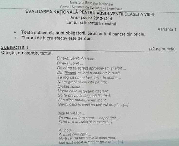 Evaluarea Nationala 2014 Subiectele de la examenul de