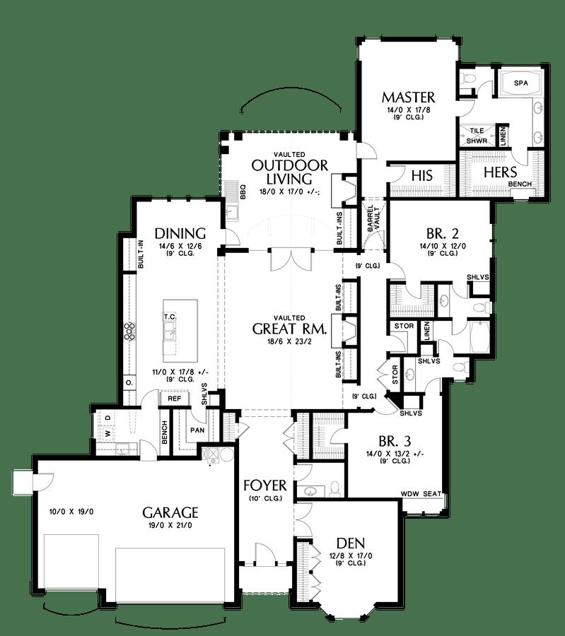 European House Plan 1344 The Sweitzer: 3044 Sqft, 3 Beds