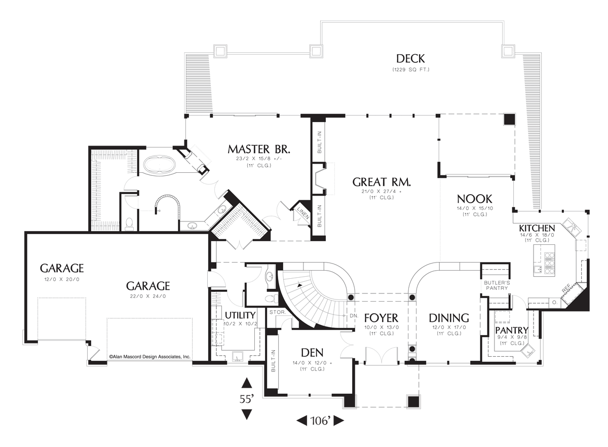 Contemporary House Plan 1405 The Jalena: 5147 Sqft, 3 Beds