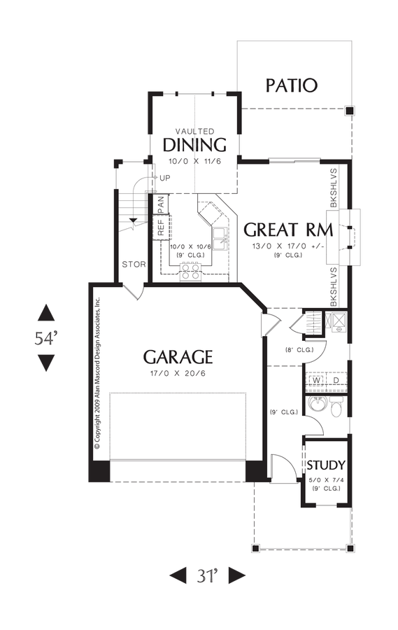 Cottage House Plan 21128A The Carpenterville: 1588 Sqft, 3
