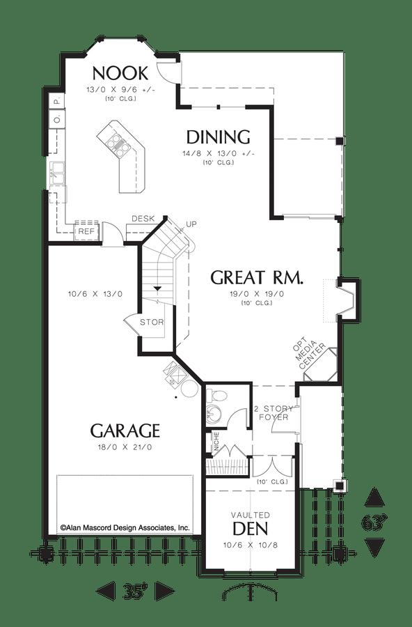 Cottage House Plan 22137 The Wilton: 2468 Sqft, 3 Beds, 2