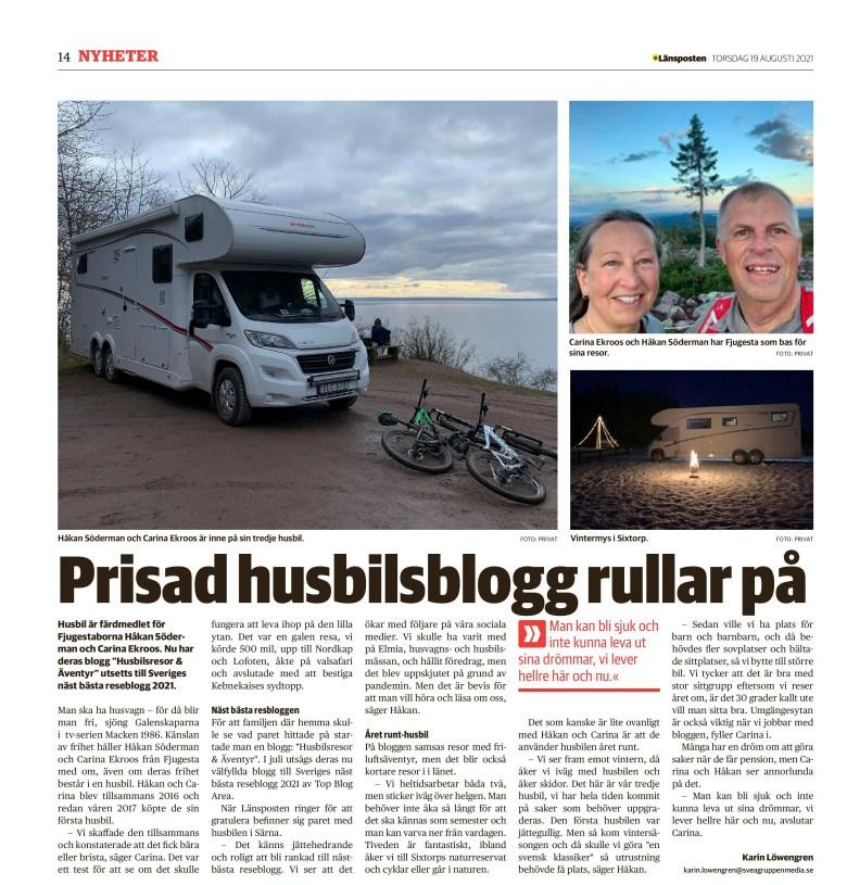 Sveriges näst bästa reseblogg artikel i Länsposten