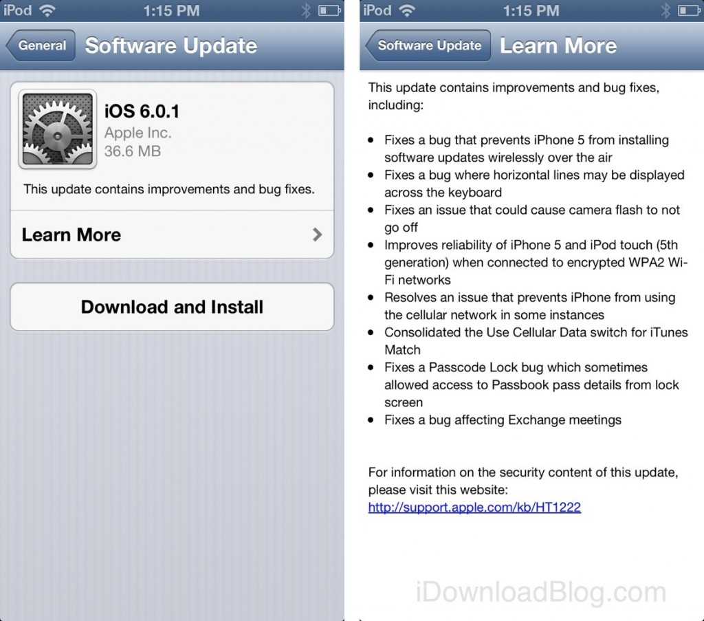 Apple releases iOS 6.0.1: fixes keyboard glitch. improves Wi-Fi and more