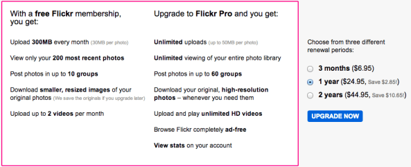 Flickr (free vs paid account)