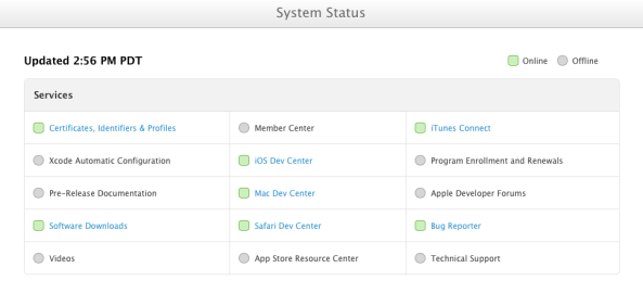 Apple Dev Center System Status (20130726)