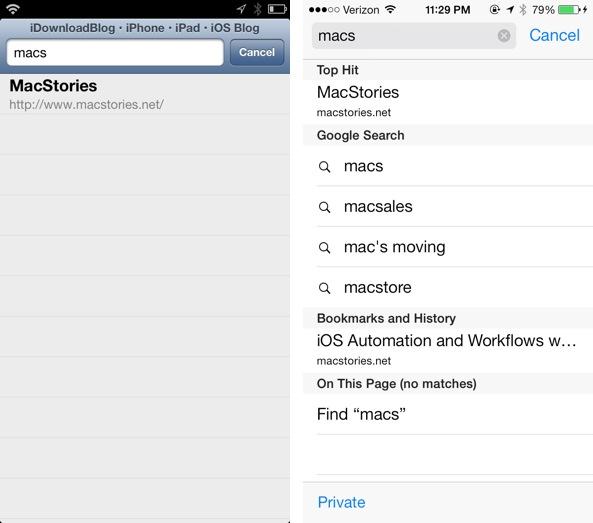 iOS 7 vs iOS 6 omnibox Safari