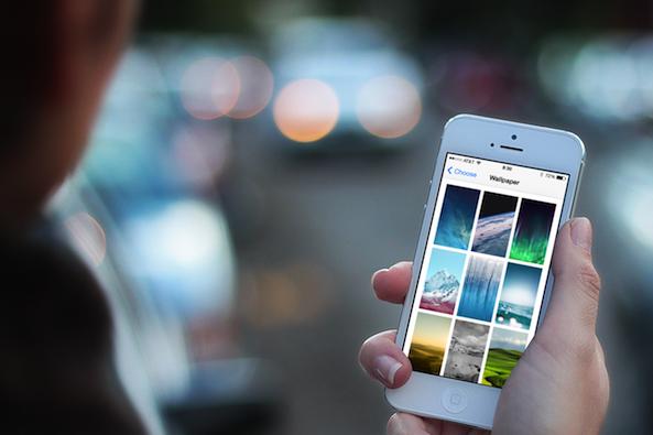 iOS 7 wallpaper menu