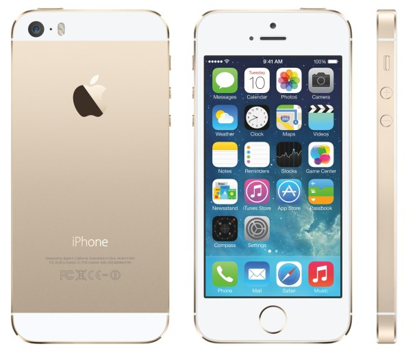 iPhone 5s (gold, three up, back, front, profile)