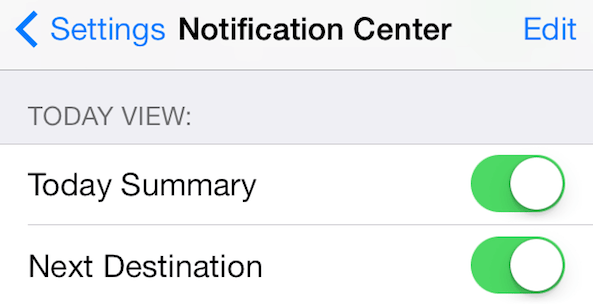 Notification Center Today view settings