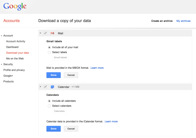 Dane z Gmaila i Kalendarza Google'a