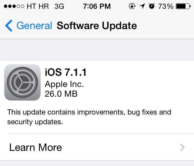 iOS 7.1.1 update prompt
