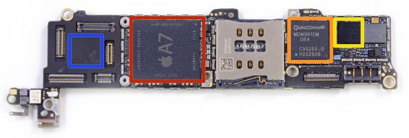 iPhone 5S teardown (iFixIt, Qualcomm baseband modem)