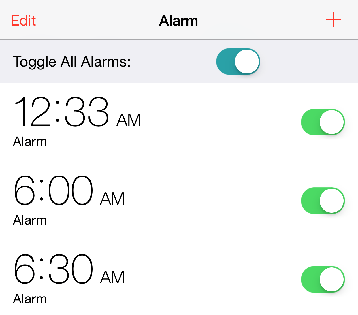 Allarm: a cleverly named tweak that toggles all alarm