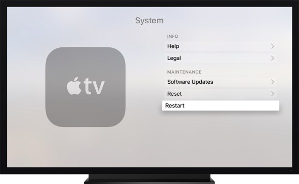 Apple TV fourth generation Settings Restart screenshot 001