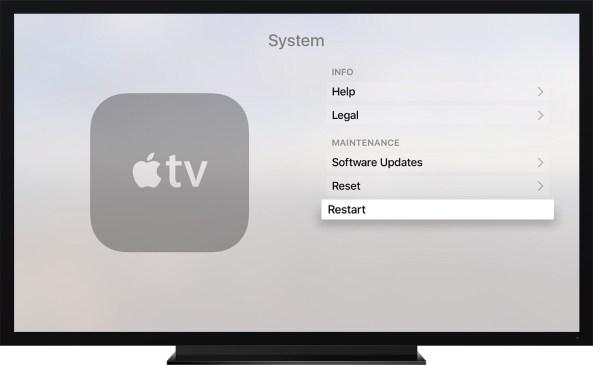 Apple TV fourth generation Settings Restart screenshot 001