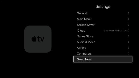 Apple TV third generation Settings Sleep Now screenshot 001